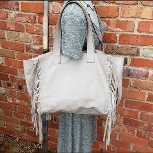 Posse Sha Nude Genuine Leather Fringe Tote Shopper